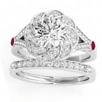 Diamond & Ruby Floral Bridal Set Setting 14k White Gold (0.35ct)