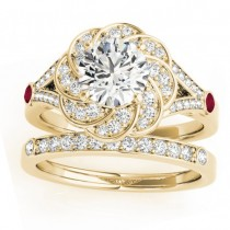Diamond & Ruby Floral Bridal Set Setting 14k Yellow Gold (0.35ct)
