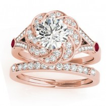 Diamond & Ruby Floral Bridal Set Setting 18k Rose Gold (0.35ct)