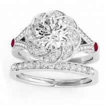Diamond & Ruby Floral Bridal Set Setting 18k White Gold (0.35ct)