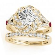 Diamond & Ruby Floral Bridal Set Setting 18k Yellow Gold (0.35ct)