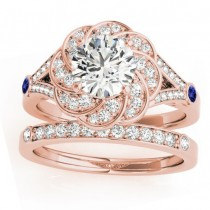 Diamond & Tanzanite Floral Bridal Set Setting 14k Rose Gold (0.35ct)