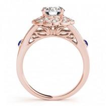 Diamond & Tanzanite Floral Bridal Set Setting 14k Rose Gold (0.35ct)