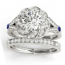 Diamond & Tanzanite Floral Bridal Set Setting 18k White Gold (0.35ct)