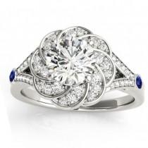 Diamond & Tanzanite Floral Bridal Set Setting 18k White Gold (0.35ct)