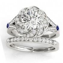 Diamond & Tanzanite Floral Bridal Set Setting Palladium (0.35ct)