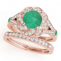 Diamond & Emerald Floral Swirl Bridal Set 14k Rose Gold (1.35ct)