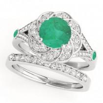 Diamond & Emerald Floral Swirl Bridal Set 14k White Gold (1.35ct)