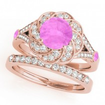 Diamond & Pink Sapphire Floral Swirl Bridal Set 14k Rose Gold (1.35ct)