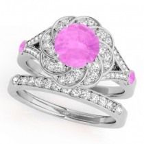 Diamond & Pink Sapphire Floral Swirl Bridal Set 14k White Gold (1.35ct)