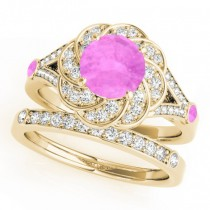 Diamond & Pink Sapphire Floral Swirl Bridal Set 14k Yellow Gold (1.35ct)