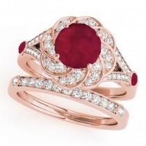 Diamond & Ruby Floral Swirl Bridal Set 14k Rose Gold (1.35ct)