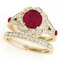 Diamond & Ruby Floral Swirl Bridal Set 14k Yellow Gold (1.35ct)