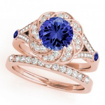 Diamond & Tanzanite Floral Swirl Bridal Set 14k Rose Gold (1.35ct)