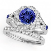 Diamond & Tanzanite Floral Swirl Bridal Set 14k White Gold (1.35ct)