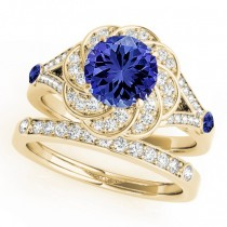 Diamond & Tanzanite Floral Swirl Bridal Set 14k Yellow Gold (1.35ct)