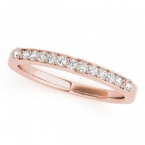 Diamond Prong & Bezel Set Wedding Band Ring 14k Rose Gold (0.10ct)