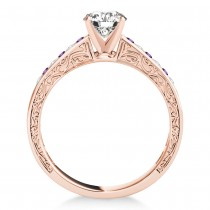 Amethyst & Diamond Channel Set Engagement Ring 14k Rose Gold (0.42ct)