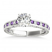 Amethyst & Diamond Channel Set Engagement Ring 18k White Gold (0.42ct)