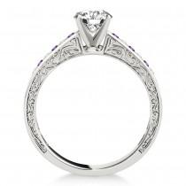 Amethyst & Diamond Channel Set Engagement Ring Platinum (0.42ct)