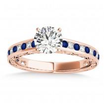 Blue Sapphire & Diamond Channel Set Engagement Ring 14k Rose Gold (0.42ct)