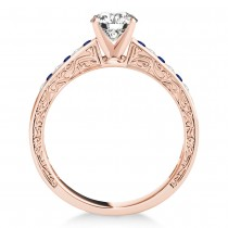 Blue Sapphire & Diamond Channel Set Engagement Ring 14k Rose Gold (0.42ct)
