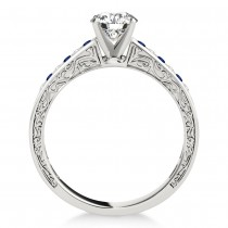 Blue Sapphire & Diamond Channel Set Engagement Ring 14k White Gold (0.42ct)