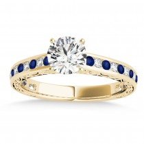 Blue Sapphire & Diamond Channel Set Engagement Ring 14k Yellow Gold (0.42ct)