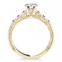 Blue Sapphire & Diamond Channel Set Engagement Ring 14k Yellow Gold (0.42ct)