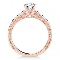 Blue Sapphire & Diamond Channel Set Engagement Ring 18k Rose Gold (0.42ct)