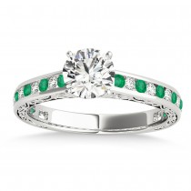 Emerald & Diamond Channel Set Engagement Ring 14k White Gold (0.42ct)