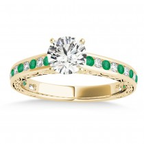Emerald & Diamond Channel Set Engagement Ring 14k Yellow Gold (0.42ct)