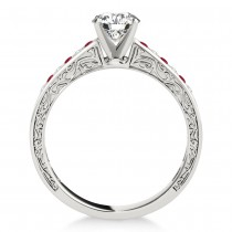 Ruby & Diamond Channel Set Engagement Ring 14k White Gold (0.42ct)