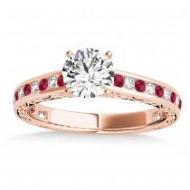 Ruby & Diamond Channel Set Engagement Ring 18k Rose Gold (0.42ct)