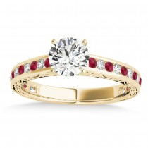 Ruby & Diamond Channel Set Engagement Ring 18k Yellow Gold (0.42ct)