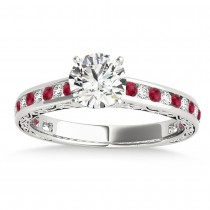 Ruby & Diamond Channel Set Engagement Ring Palladium (0.42ct)