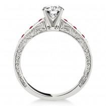 Ruby & Diamond Channel Set Engagement Ring Palladium (0.42ct)