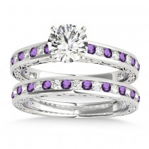 Amethyst & Diamond Twisted  Bridal Set 14k White Gold (0.87ct)