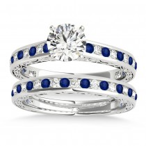 Blue Sapphire & Diamond Twisted Bridal Set 18k White Gold (0.87ct)