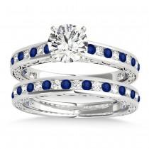 Blue Sapphire & Diamond Twisted Bridal Set 18k White Gold (0.87ct)