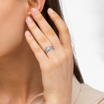 Blue Sapphire & Diamond Twisted Bridal Set Platinum (0.87ct)