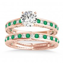 Emerald & Diamond Twisted  Bridal Set 14k Rose Gold (0.87ct)