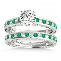 Emerald & Diamond Twisted  Bridal Set 14k White Gold (0.87ct)
