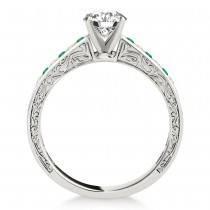 Emerald & Diamond Twisted  Bridal Set 18k White Gold (0.87ct)
