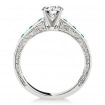 Emerald & Diamond Twisted  Bridal Set Palladium (0.87ct)