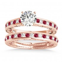 Ruby & Diamond Twisted  Bridal Set 14k Rose Gold (0.87ct)