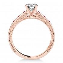 Ruby & Diamond Twisted  Bridal Set 14k Rose Gold (0.87ct)