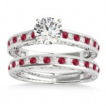 Ruby & Diamond Twisted  Bridal Set 14k White Gold (0.87ct)