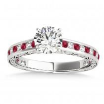 Ruby & Diamond Twisted  Bridal Set 18k White Gold (0.87ct)