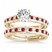 Ruby & Diamond Twisted  Bridal Set 18k Yellow Gold (0.87ct)